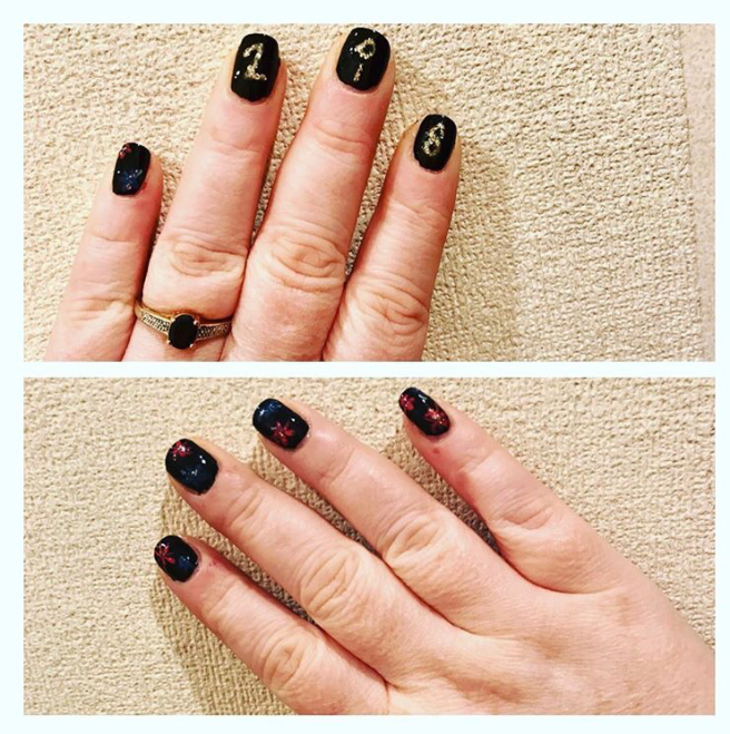New Year themed nail art manicure