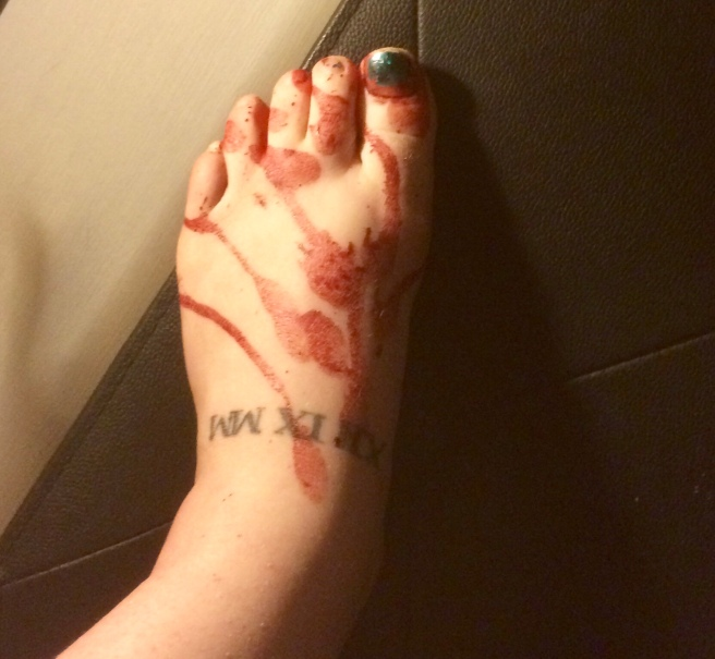 Blood stained foot