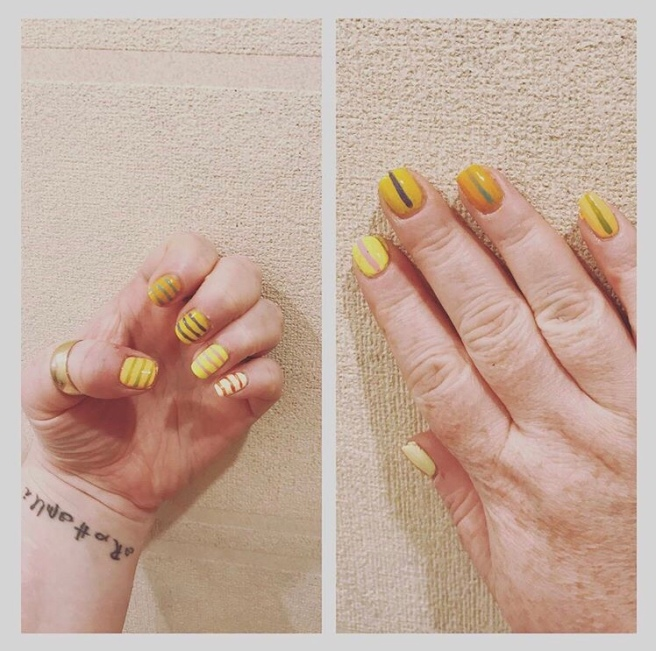 ly h Kerr, yellow ombré nail art