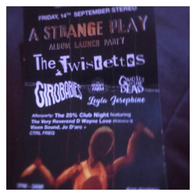 A strange play album launch flyer