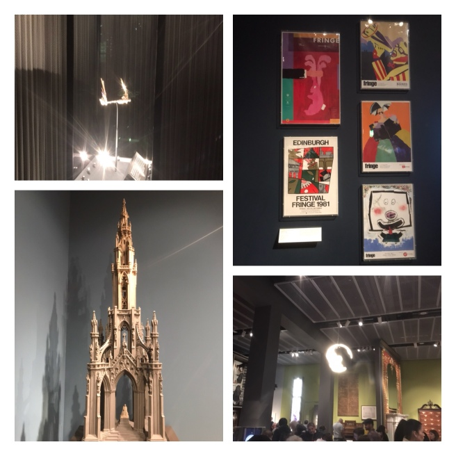 Scott Monument model, tiara, Edinburgh festival posters, Scottish design museum
