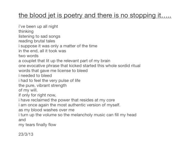 The blood jet is poetry, ly h Kerr