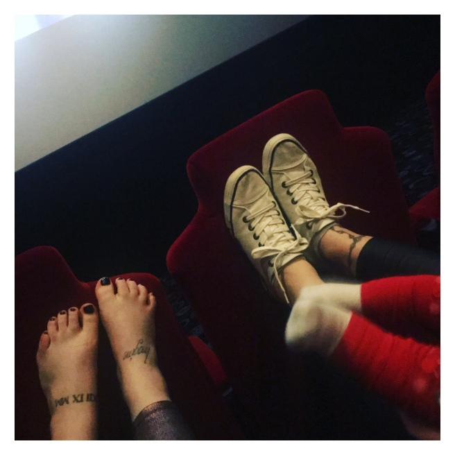 Cinema foot selfie