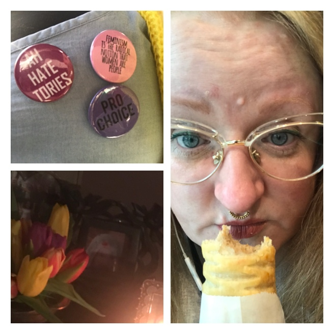 Political badges, vegan sausage roll & tulips