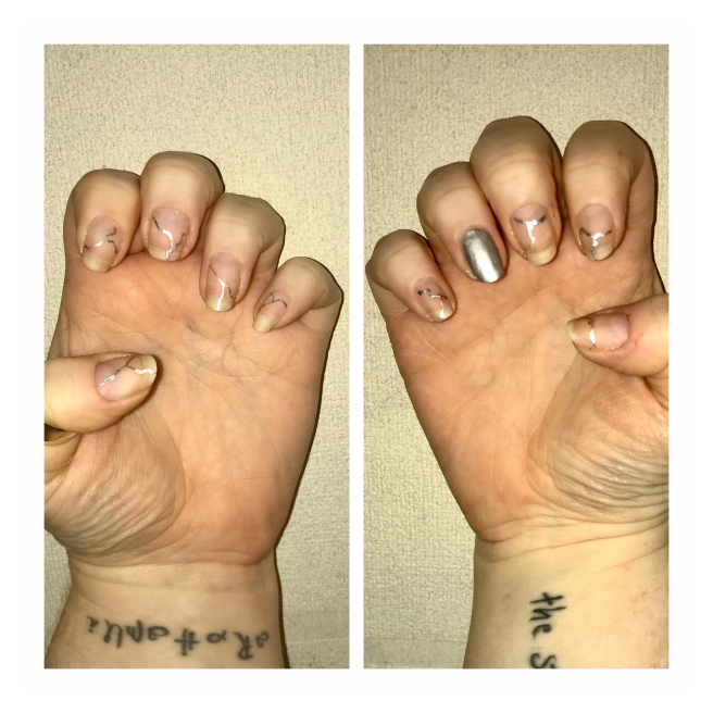 Silver crack nail art