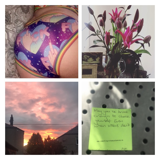 Wilde mode pants, lilies, tulips, sunset & project post it