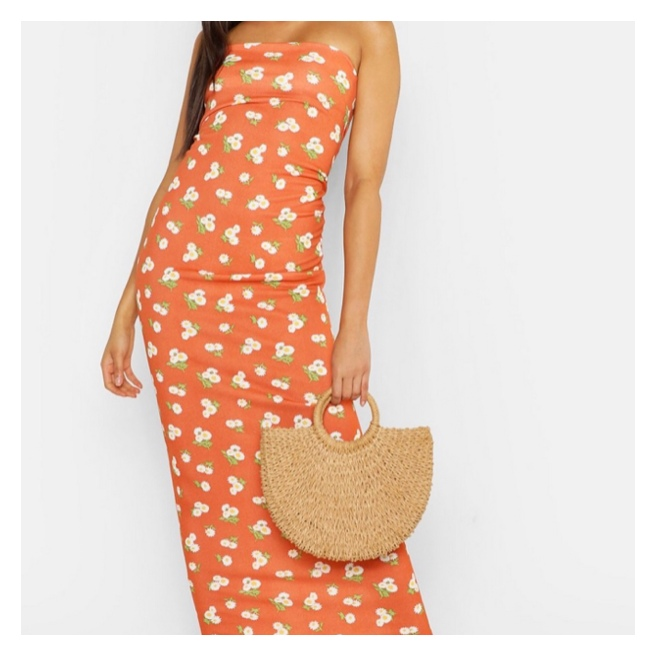 Boohoo orange maxi dress