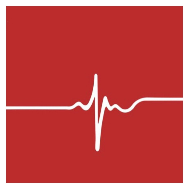 Heartbeat on red background