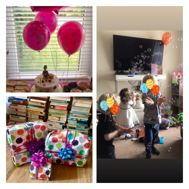Balloons, birthday cake & children at party