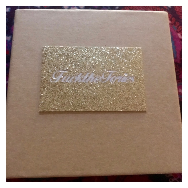 Jewellery box with glittery fuck the tories business card
