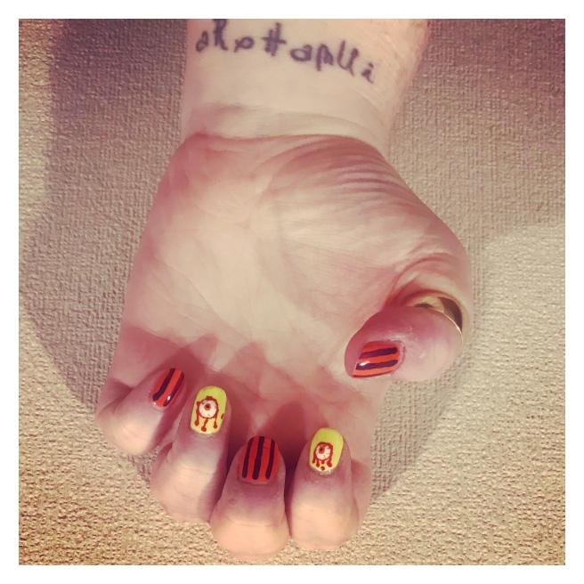 Bloody eye ball nail art