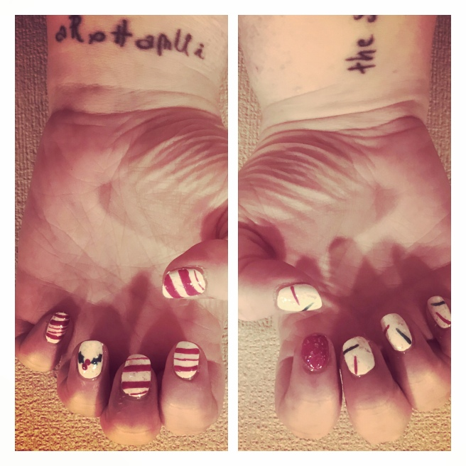 Xmas nail art. Candy cane stripe & holly