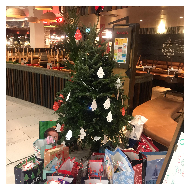 Christmas tree with gift tags