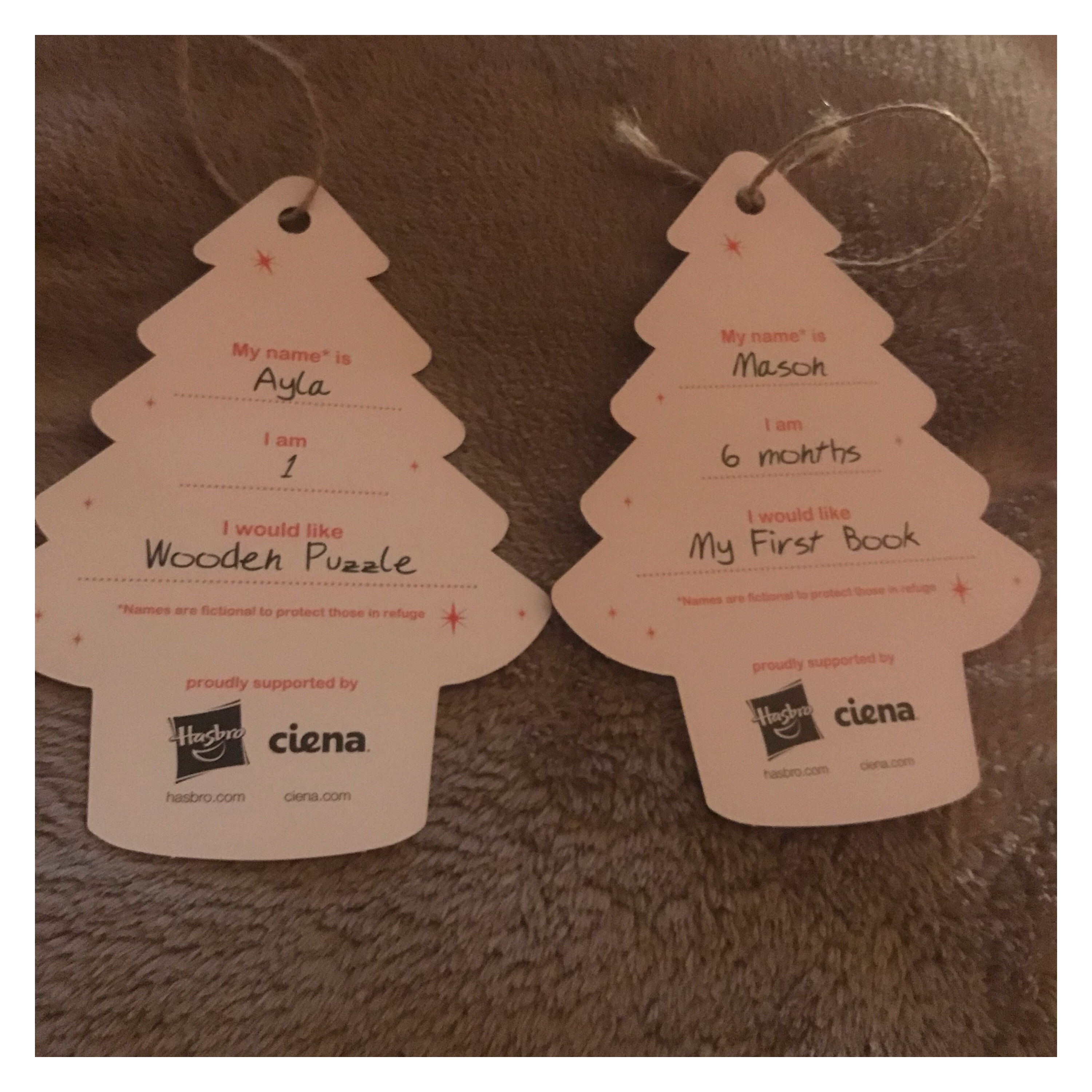 Gift tags with present requests