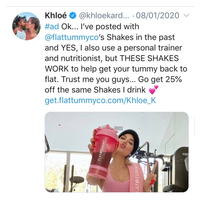 Khloe Kardashian tweet promoting flat tommy shakes
