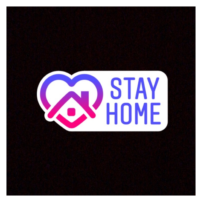 Instagram stay home logo on black background