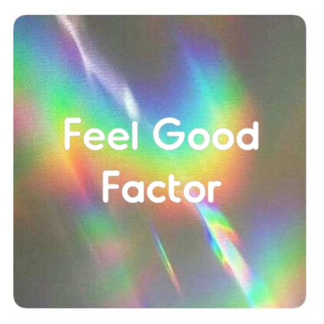 Feel good factor in white text on rainbow background