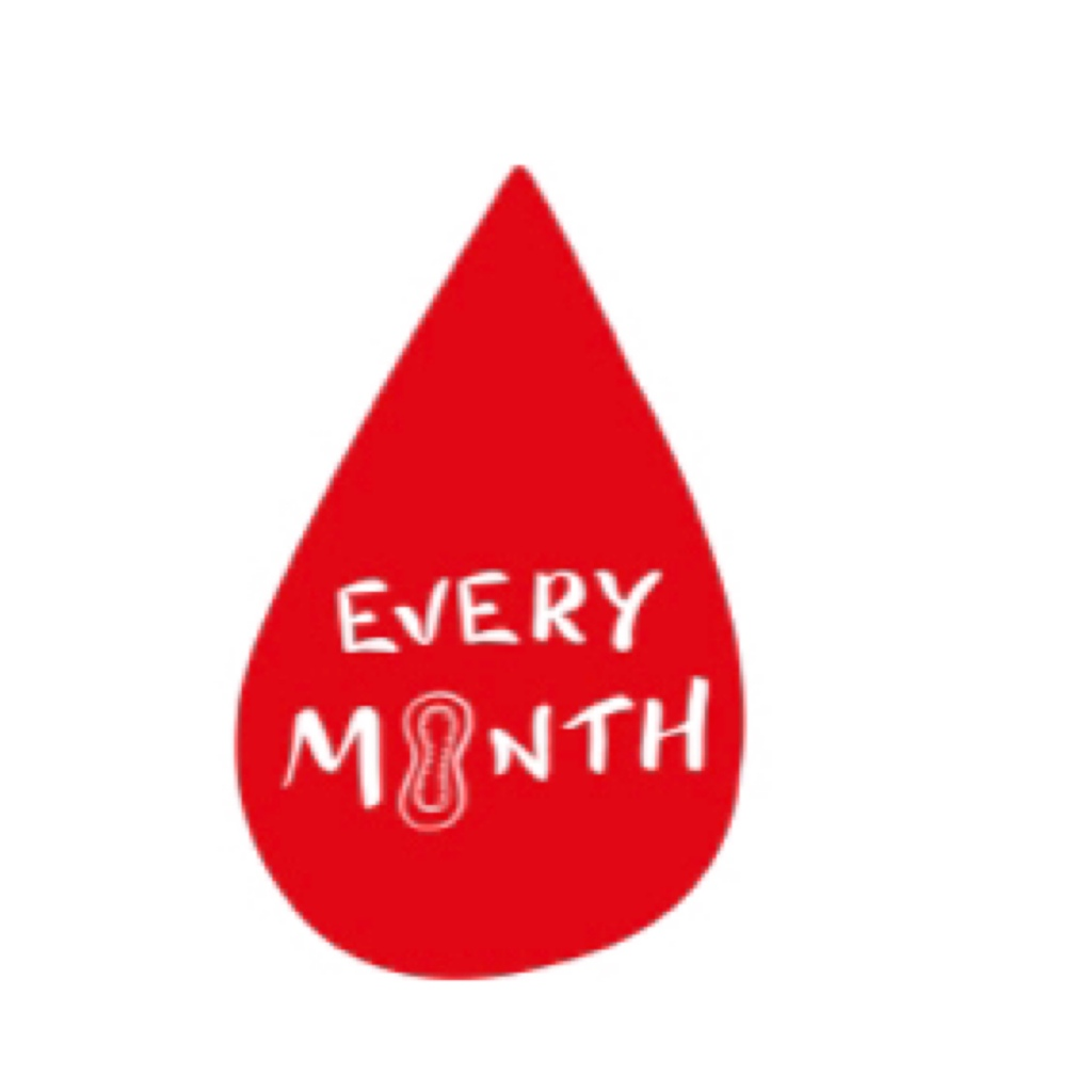 Red blood drop with words every month