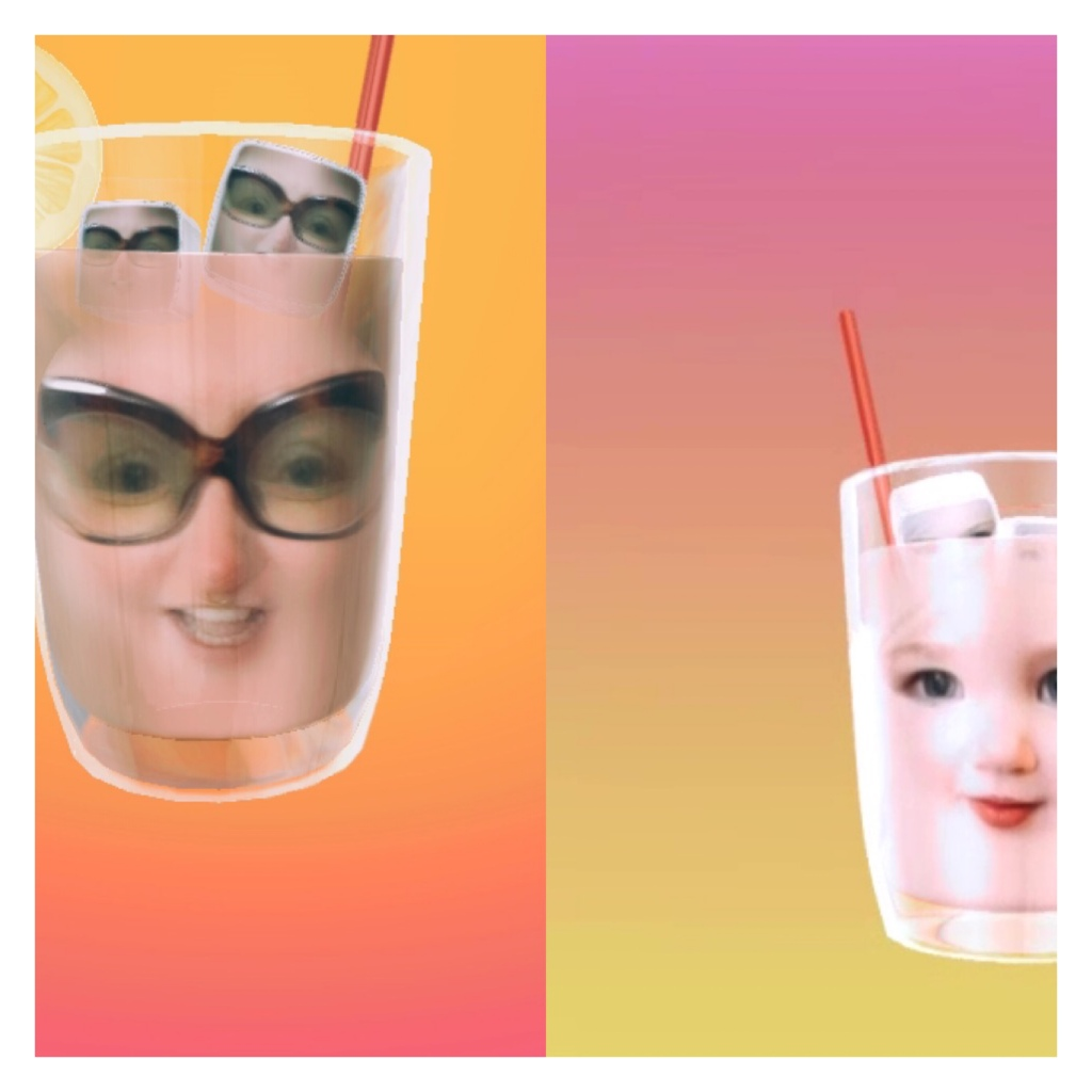 Video  call with two faces in lemonade filter