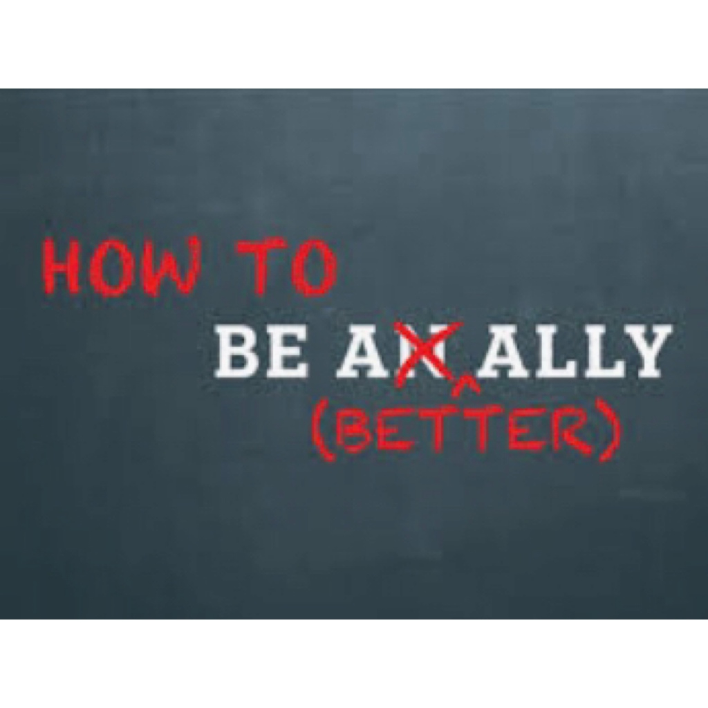 Words how to be a better ally in red in grey background