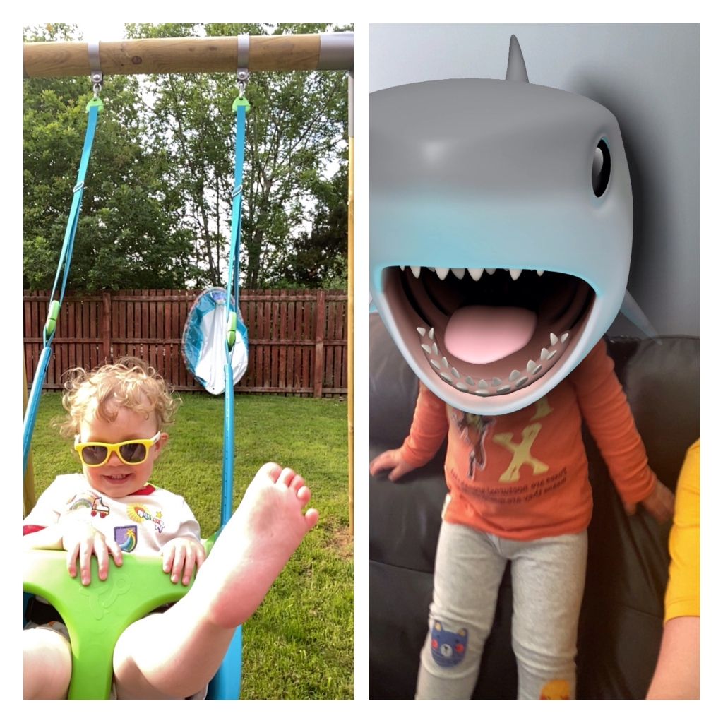Toddler on a swing & with shark filter