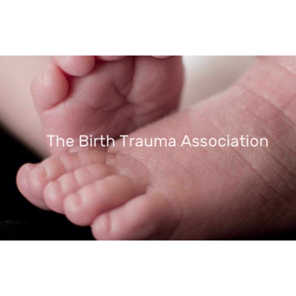 New born baby feet with words birth trauma Association