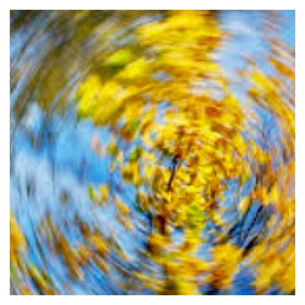Blurry spinning image of trees & sky