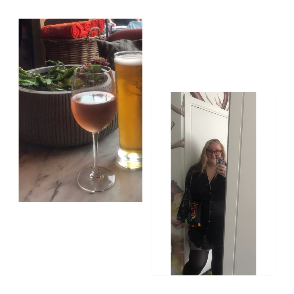 Glass of rose & pint of beer . Ly in black shirt dress with illusion tights.