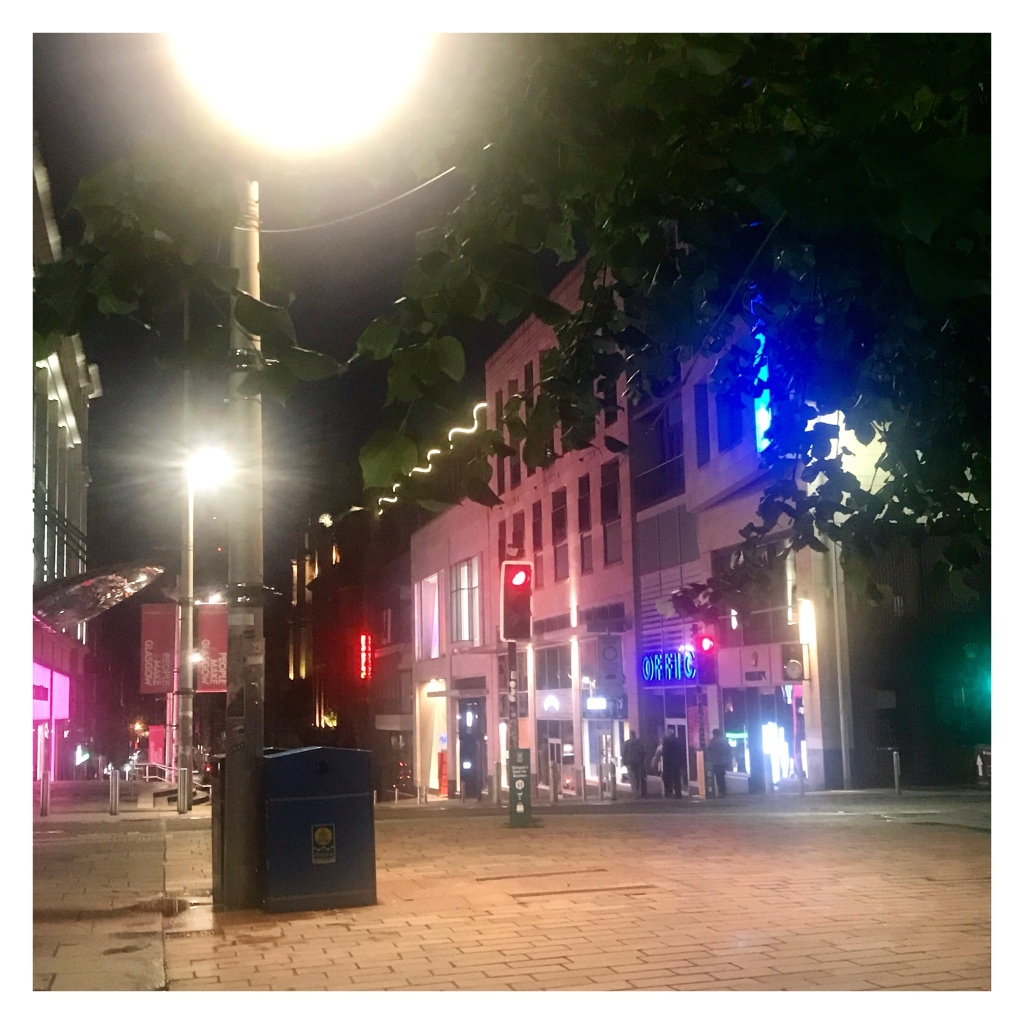 Deserted Buchanan street with lots of bright lights