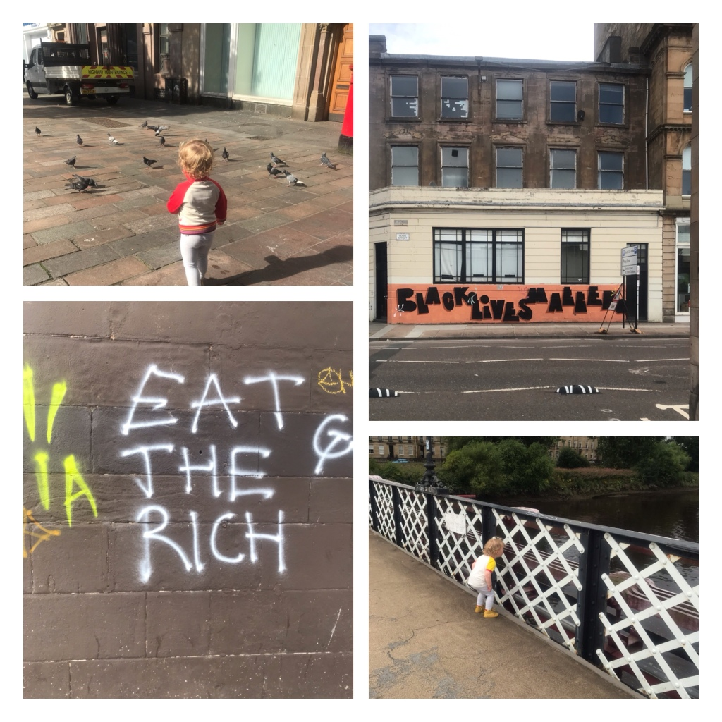 Glasgow street art,  toddler feeding birds