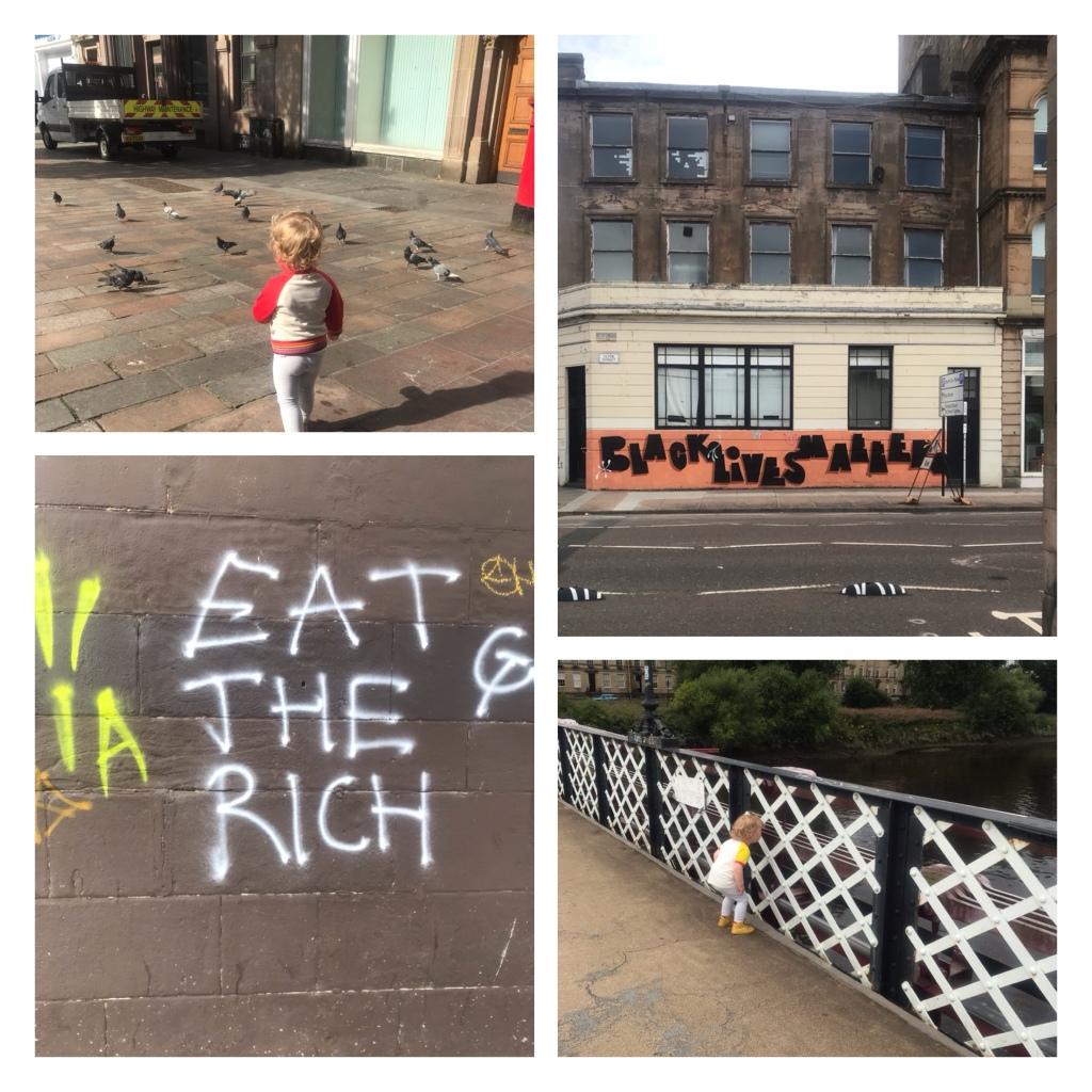 Glasgow street art,  toddler feeding birds