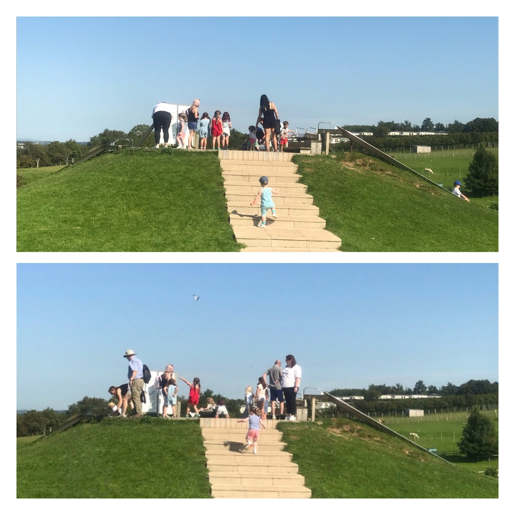 Toddlers running up steps to a slide