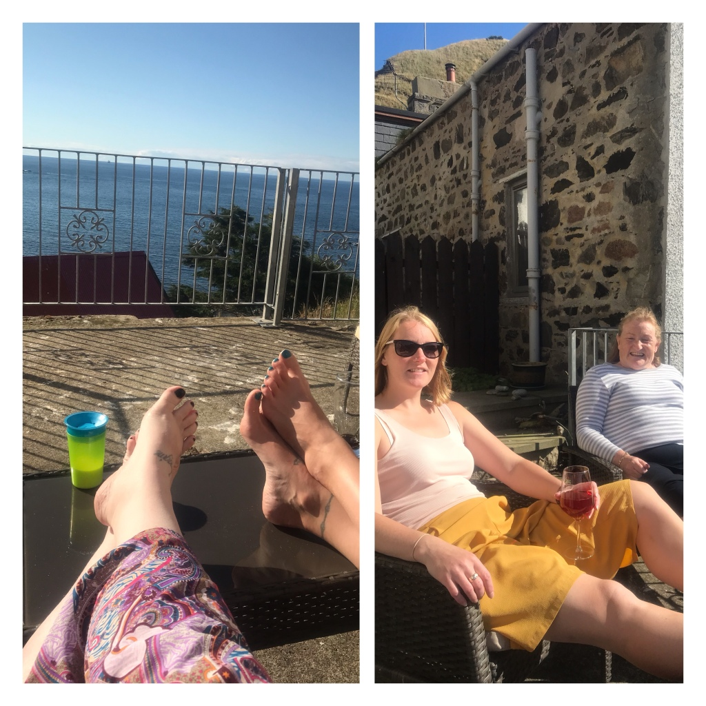 Feet up on table  with seaview