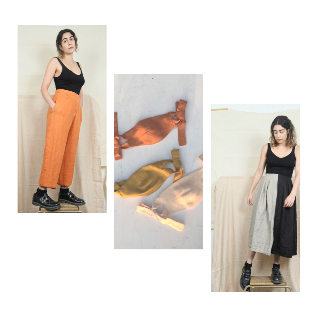Orange linen trs,  linen face masks  grey & black skirt all by rosana exposito