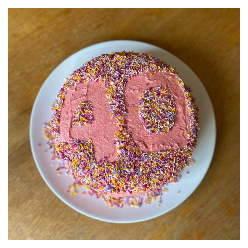 Pink birthday cake with sprinkles & 40