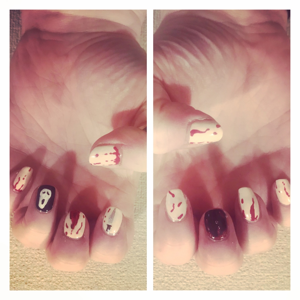 Scream themed nail art . Ghost face, knife & blood