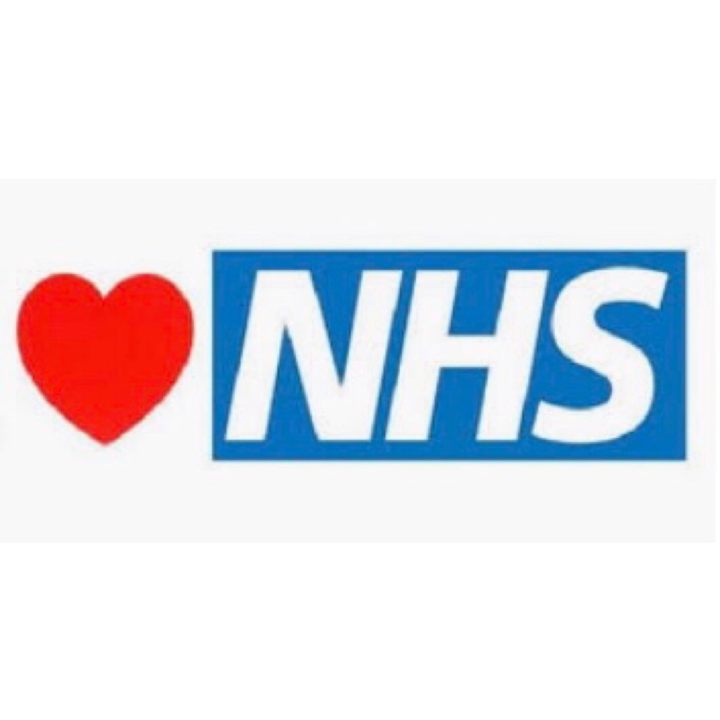 Red love heart and NHS in white letters