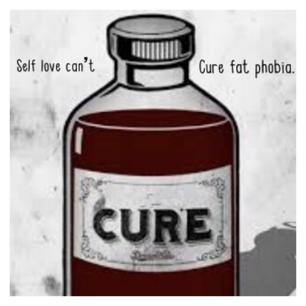 A drawing of a medicine bottle labelled cure with the text 'self love can't cure fat phobia'