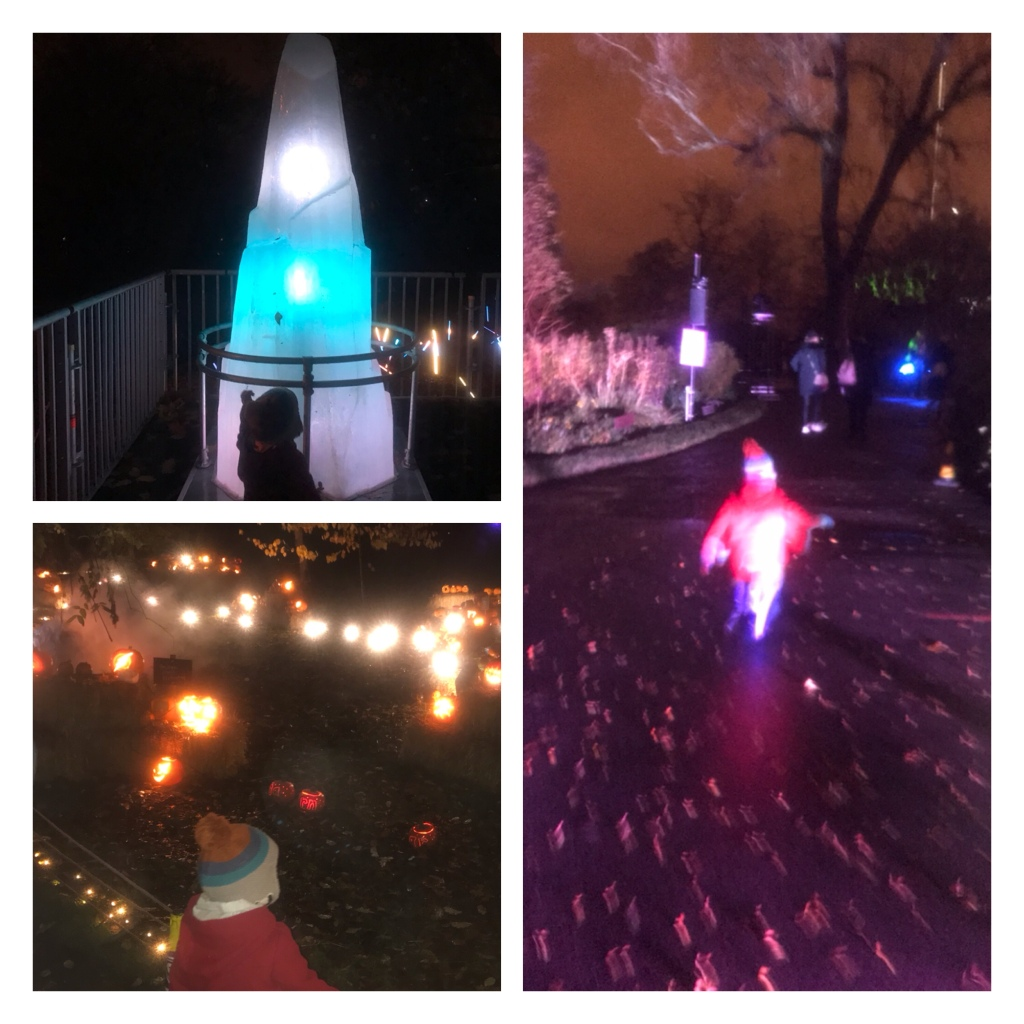 Pumpkins and giant glowing crystal in dark park