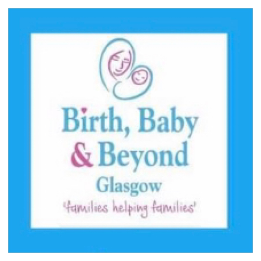 Birth baby and beyond logo  drawing of woman cradling a baby in blue back ground