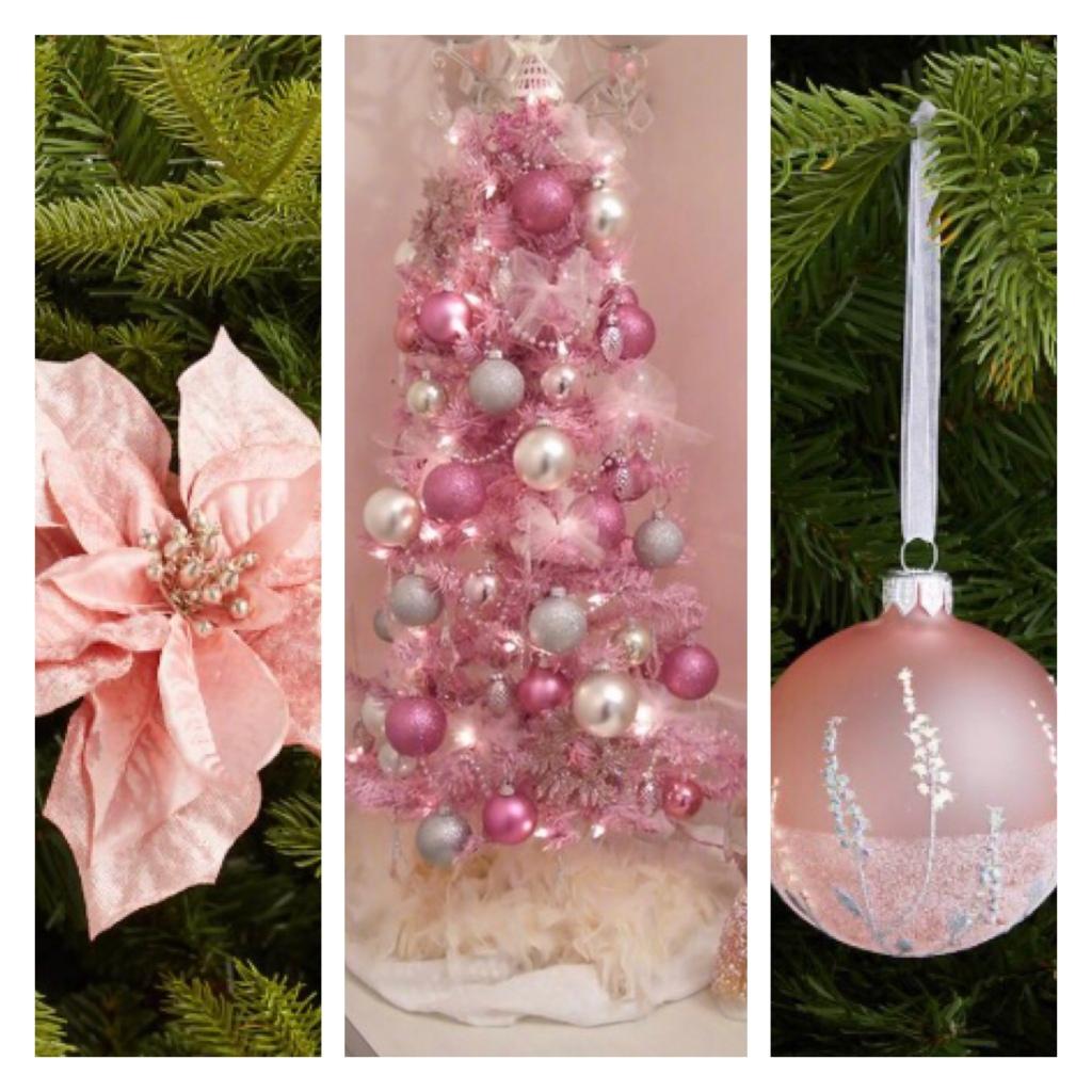 Pink flower on Xmas tree, pink artificial Xmas tree, pink Xmas tree bauble