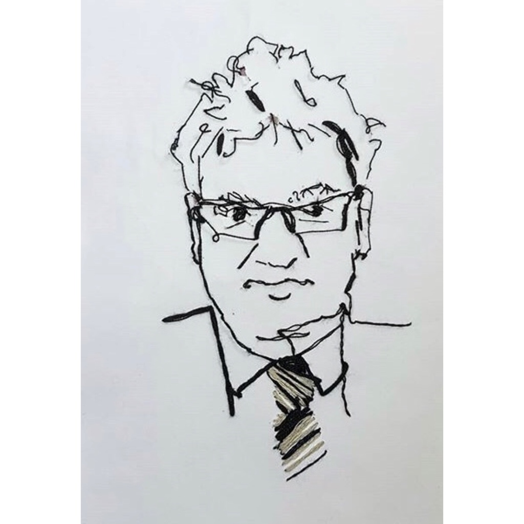 Portrait of man wearing glasses.  Black thread on white paper