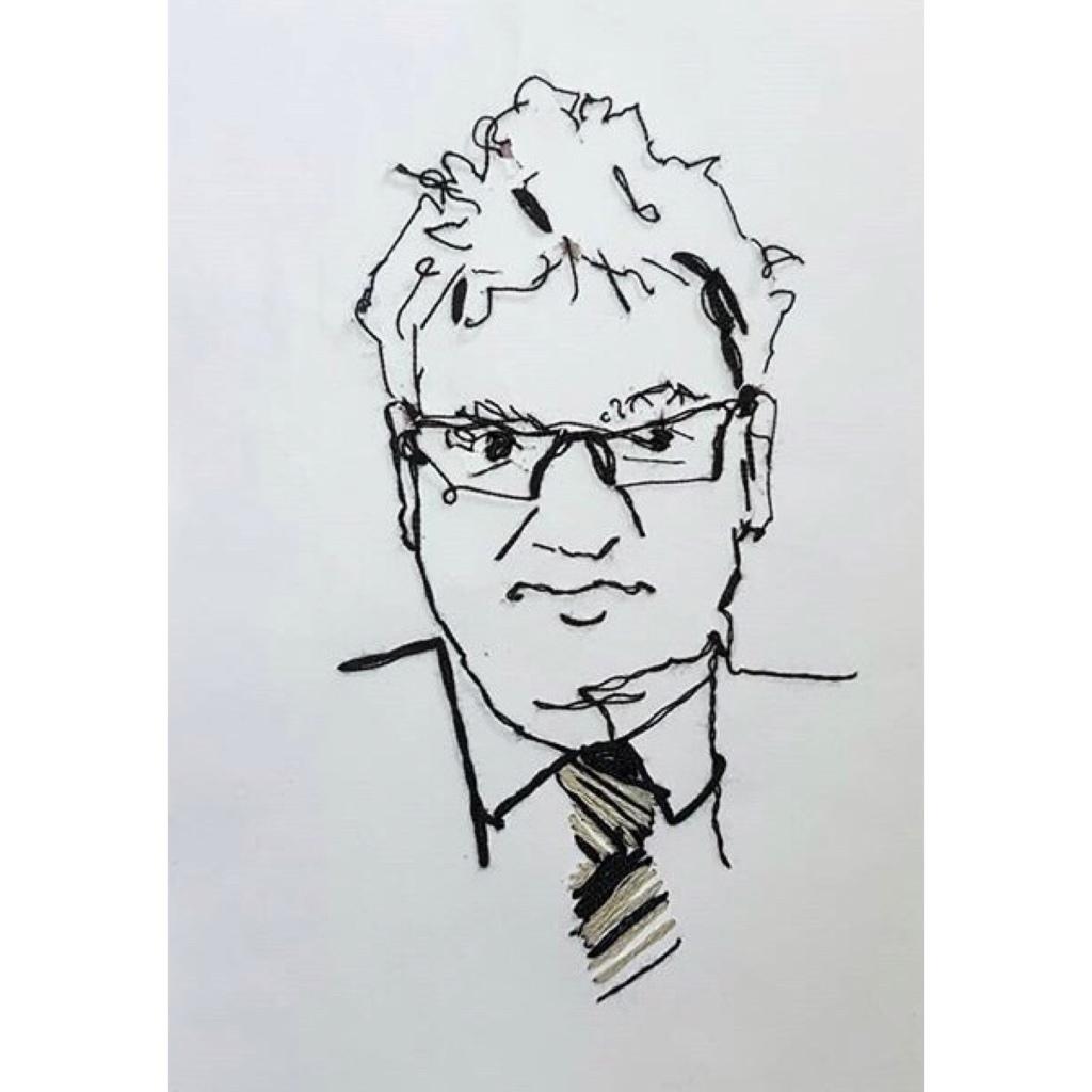 Portrait of man wearing glasses.  Black thread on white paper