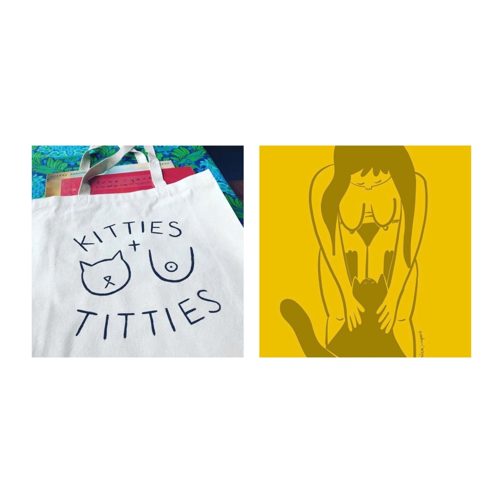 Tote bag  with 'titties & kitties' slogan Sms drawing of naked woman bending over to stroke  a cat.