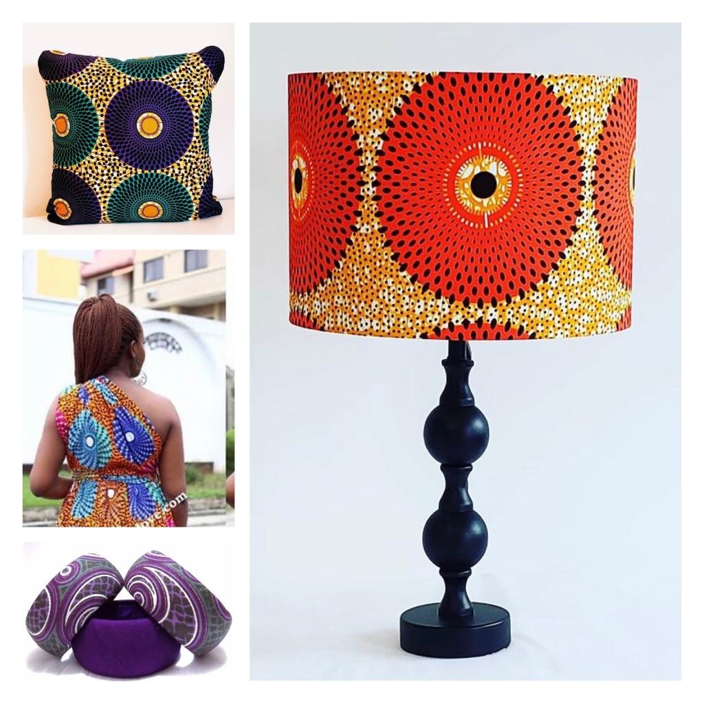 Lamp, bangles, dress &  cushion is African wax print fabrics