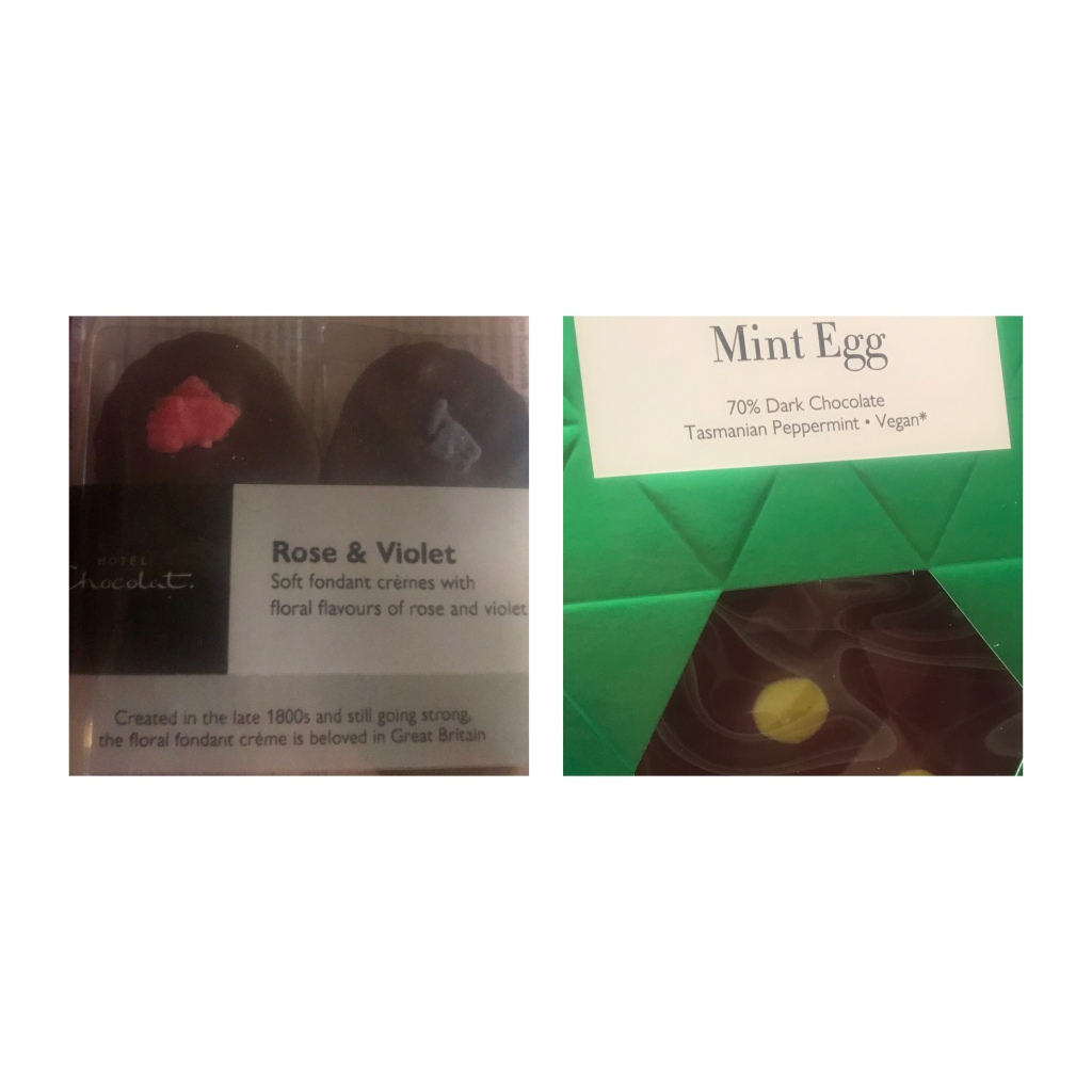 Hotel Chocolate  Mint Easter Egg & Violet Creams