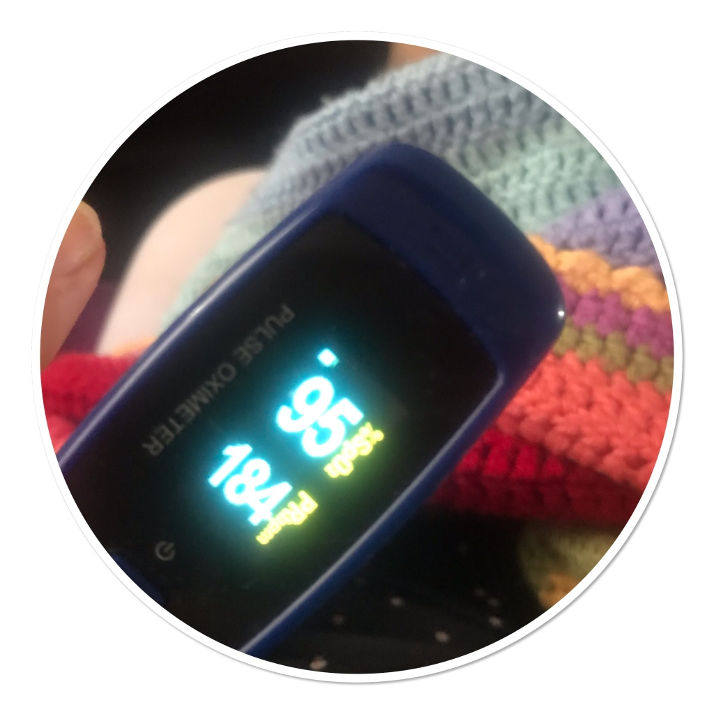 Pulse oximeter  with heart rate at 180 & oxygen 95