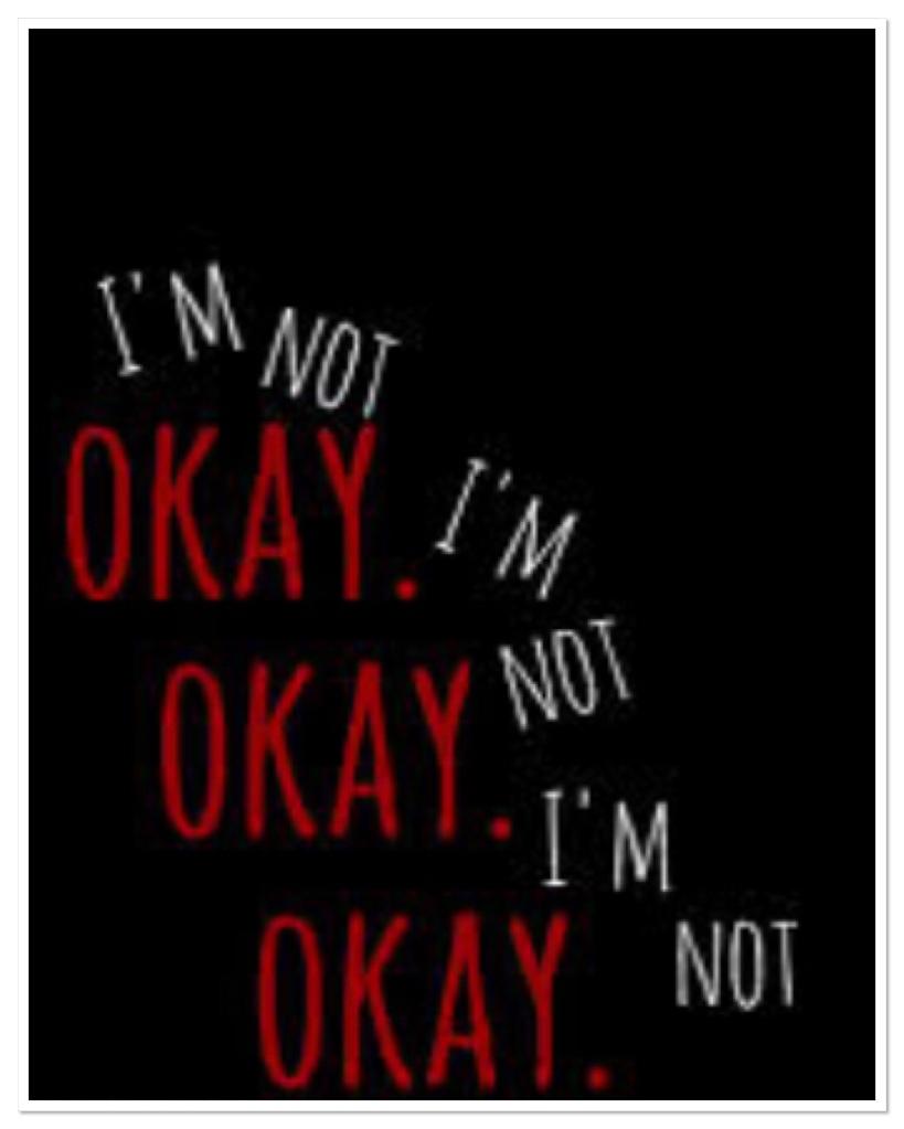 The words I'm not ok on black background