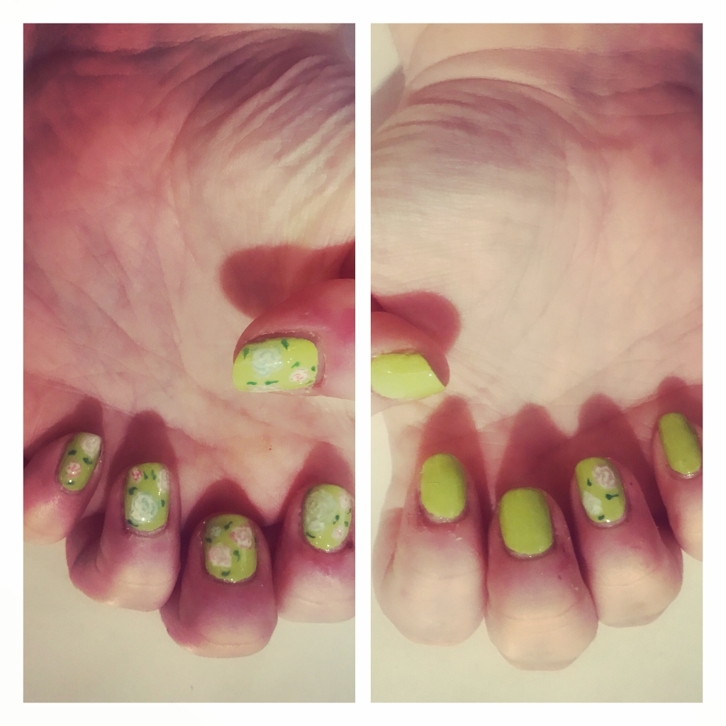 Green manicure with pink peonies
