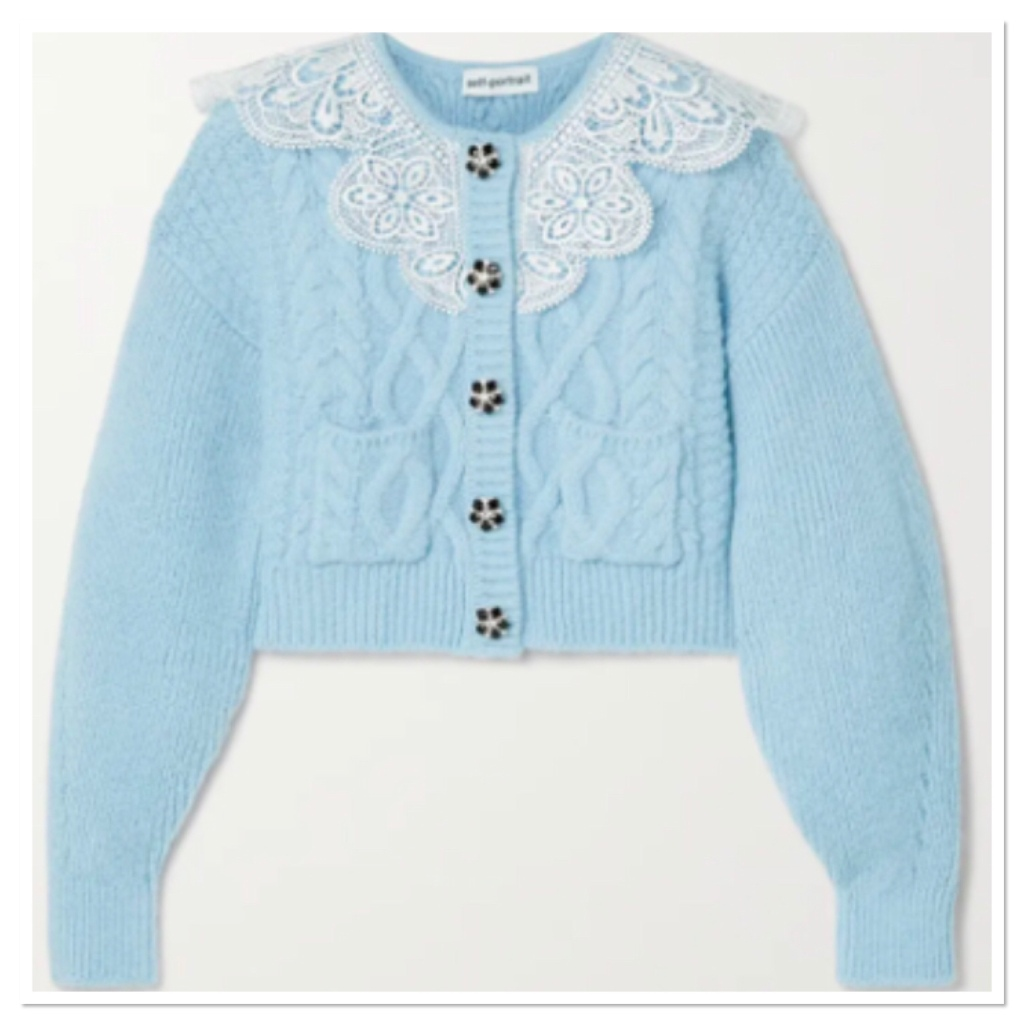 Pale blue cardigan with white lace colour